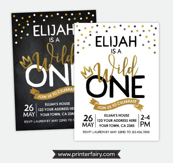 Wild One Invitation Boy Birthday Party First Invitations Things Invite Personalized DIGITAL 2 Options
