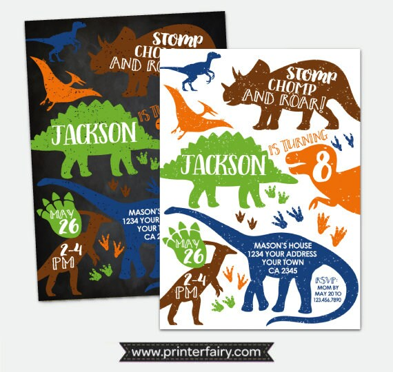 Dinosaur Invitation T Rex Birthday Party Prehistoric Personalized Digital Invite