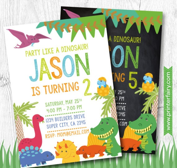 Dinosaur Invitation Dinosaur Party Dinosaur Birthday Dino