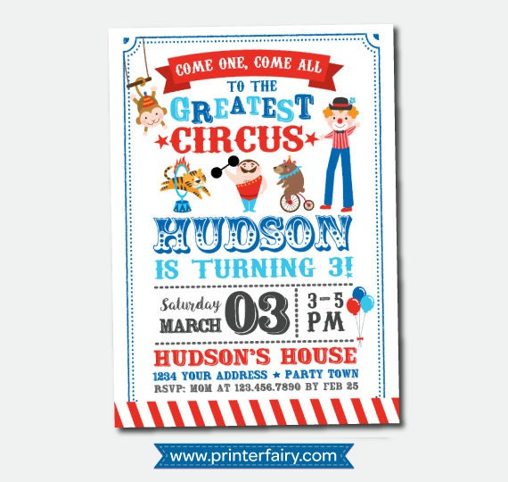 Circus Birthday Invitation Carnival Party Personalized