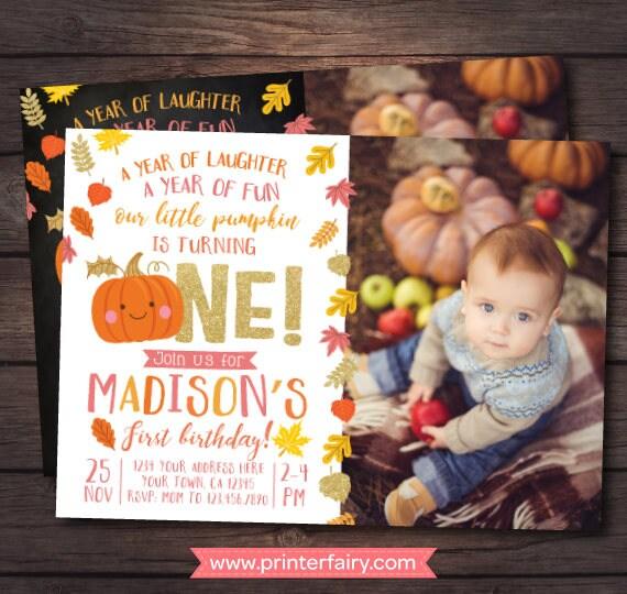 Little pumpkin first birthday invitation with picture pumpkin girl little pumpkin first birthday invitation with picture pumpkin girl invitation autumn birthday digital personalized invites 2 options filmwisefo