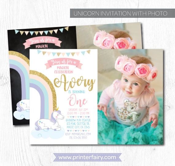 Unicorn Invitation With Picture Birthday