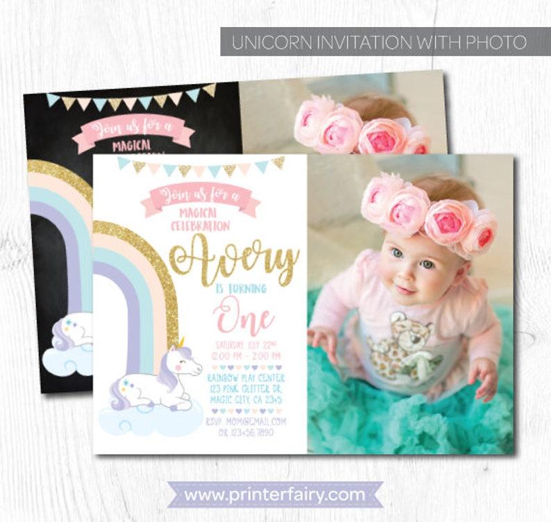 Unicorn Invitation With Picture Birthday 1st Rainbow Any Age DIGITAL