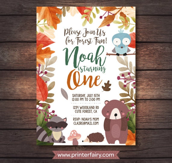 Woodland Birthday Party First Invitation Invite Printables Forest Digital
