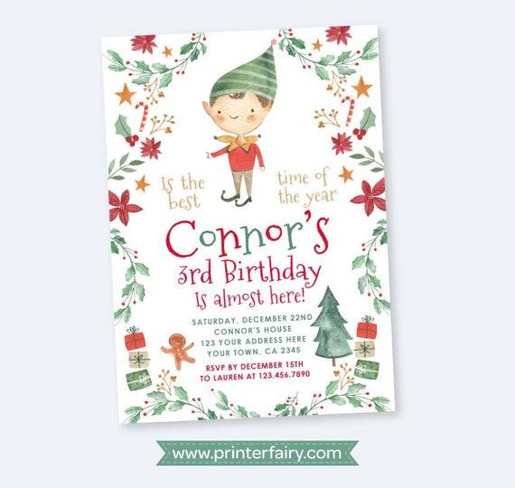 photograph about Printable Christmas Invitations named Xmas birthday bash Invitation, Boy Elf Birthday
