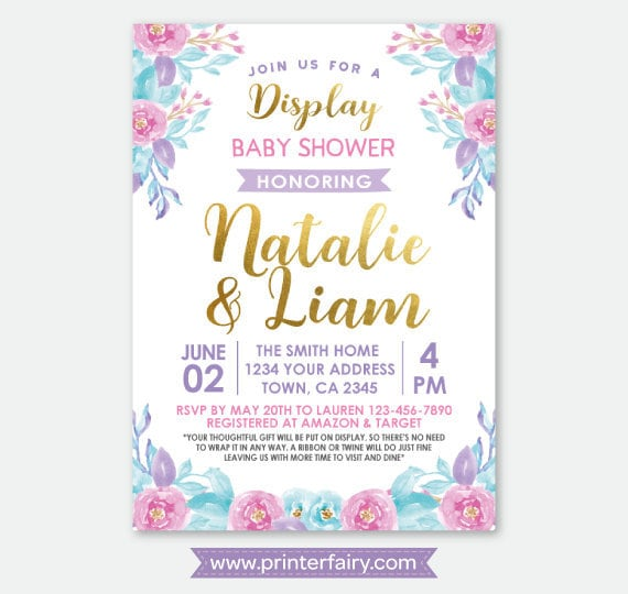 Display Baby Shower: Display Baby Shower Invitation, Floral Baby Shower