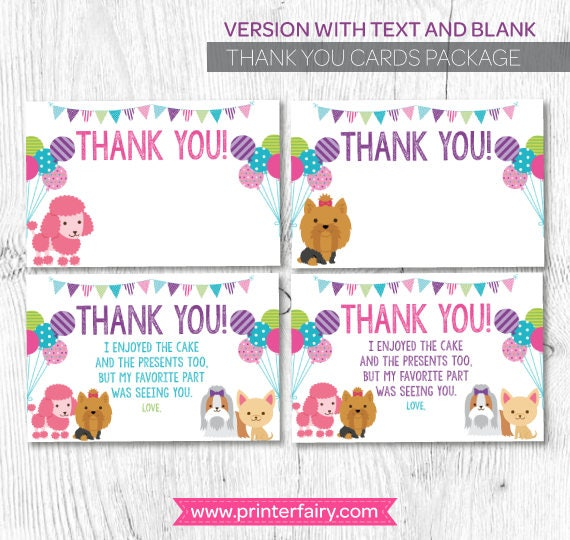 Pet Adoption Party, Puppy thank you cards, Puppy birthday, Dog birthday, Digital files, Instant download