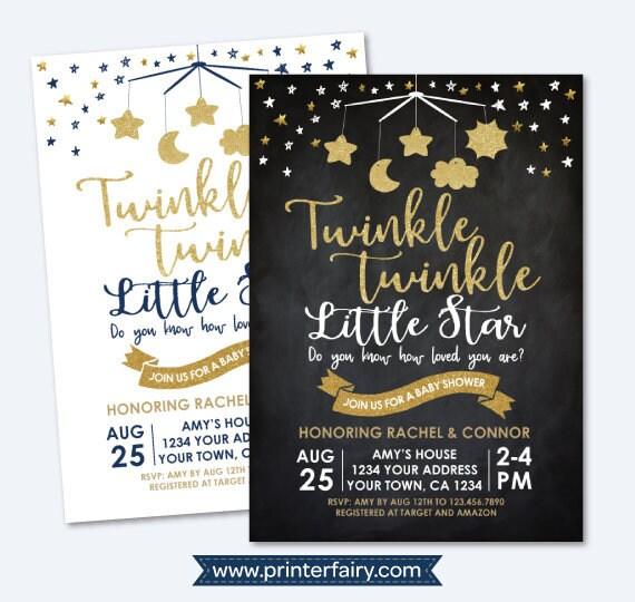 Twinkle Twinkle Little Star Baby Shower Invitation, Stars Baby Shower  Invitation, Gender Neutral Invite, Personalized DIGITAL Invitation