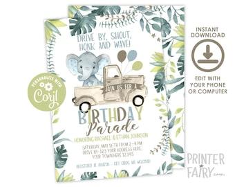 Elephant Birthday Parade, Drive By Parade, EDITABLE, Quarantine Birthday Party, Safari Invitation, Drive Thru Party,  INSTANT DOWNLOAD