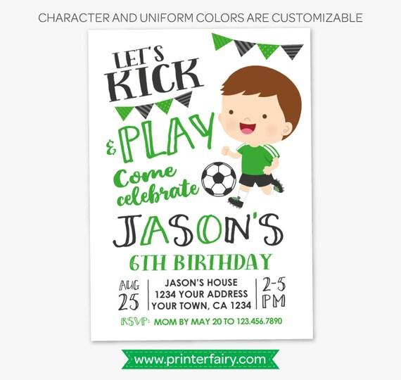 Soccer Boy Birthday Invitation Sports
