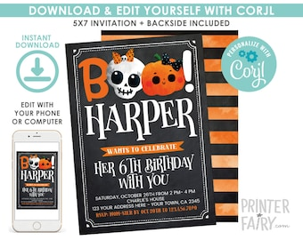 Halloween Birthday Invitation,  EDITABLE, Pumpkin Invitation, Skull Birthday Invitation, Halloween Party, EDIT YOURSELF, Instant Download