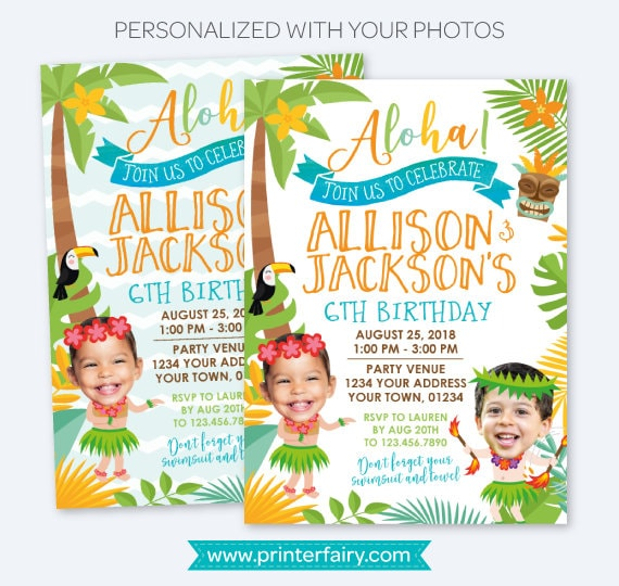 Luau Siblings Birthday Invitation Hawaiian Joint Party Pool Personalized Digital Invite 2 Options