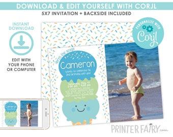 EDITABLE Ice Cream Birthday Invitation with photo, Boy Birthday Invitation, Sprinkles Invitation, Ice Cream Party, Instant Download