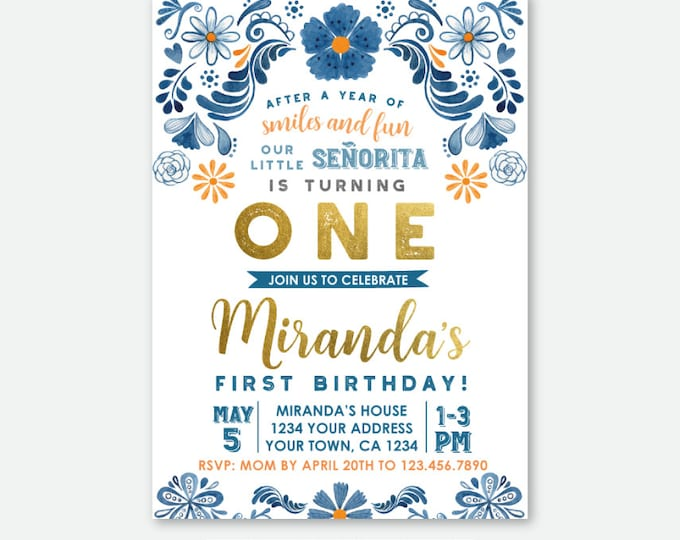 Fiesta 1st Birthday Invitation, Floral First Birthday Party, Mexican Party, Little Señorita, Any Age, Personalized Digital Invite