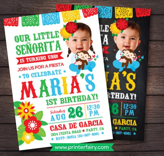 First Fiesta Invitation Birthday Baby Senorita Mexican Digital Invite 2 Options