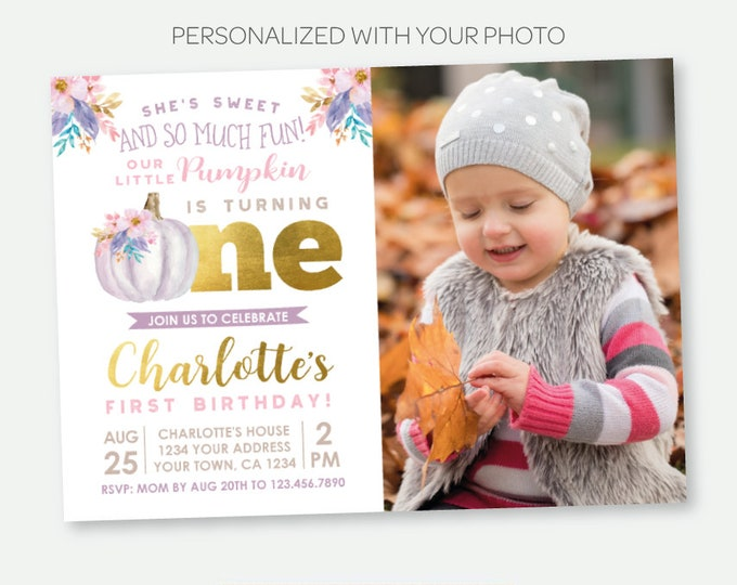 Little Pumpkin First Birthday Invitation with Photo, Fall First Birthday Invitation, Floral Birthday Party, Personalized Digital Invite