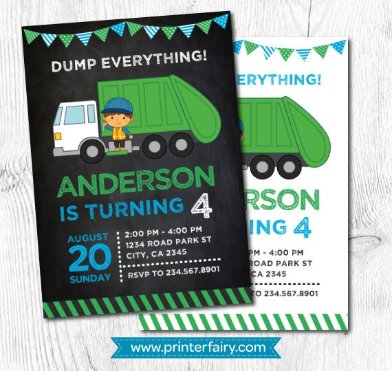 Garbage truck birthday trash truck invitation garbage etsy image 0 filmwisefo