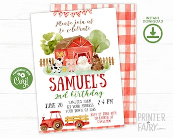 Farm Birthday Invitation, EDITABLE, Farm Invitation, Barnyard Invitation, Farm Birthday Party, Tractor Invitation, INSTANT DOWNLOAD