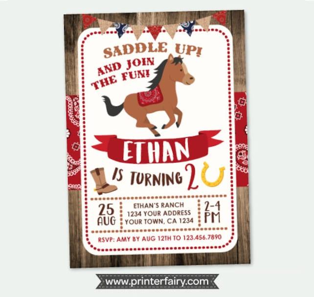 Cowboy Birthday Invitation, Horse Invitations, Pony Birthday Invitation, Buckaroo birthday invitation, DIGITAL, You print