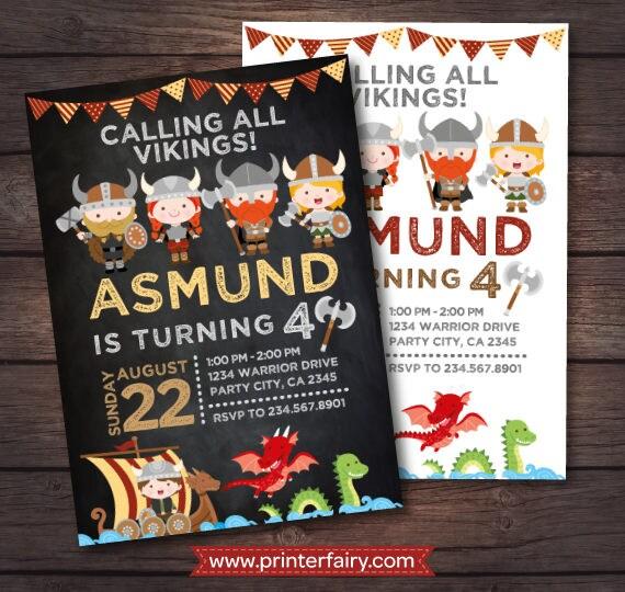 Dragon Birthday Invitation, Viking Birthday Invitation, Dragon Party, Viking Ship Invitation, 2 options, DIGITAL