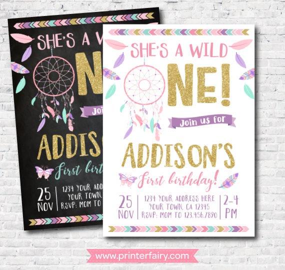 Wild One Girl Birthday Invitation Dreamcatcher First Boho DIGITAL Personalized Invite 2 Options