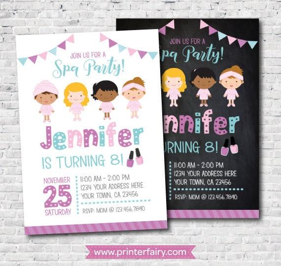 Spa Invitation Birthday Slumber Party DIGITAL 2 Options