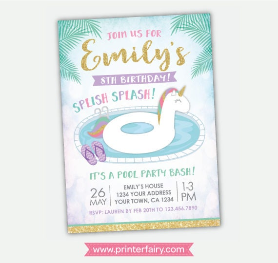 Unicorn Pool Party Invitation Pool Party Invite Summer Birthday