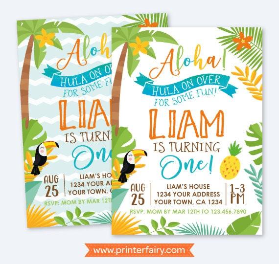Luau First Birthday Invitation Hawaiian Party Summer Personalized Digital Invite Vintage 2 Options