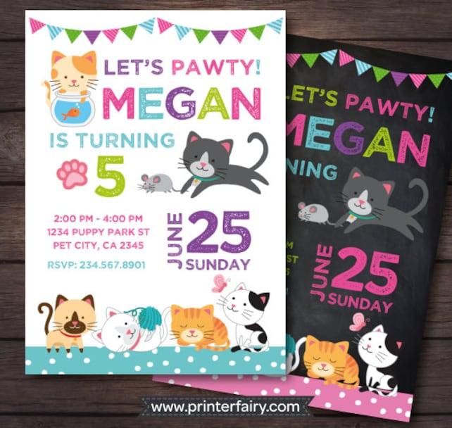 Kitten Invitation, Cat Birthday Invitation, Kitten birthday Invitation, Cat adoption birthday party, Pawty Invitation, Digital, 2 Options