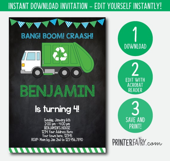 Editable Trash Truck Invitation Garbage Recycle