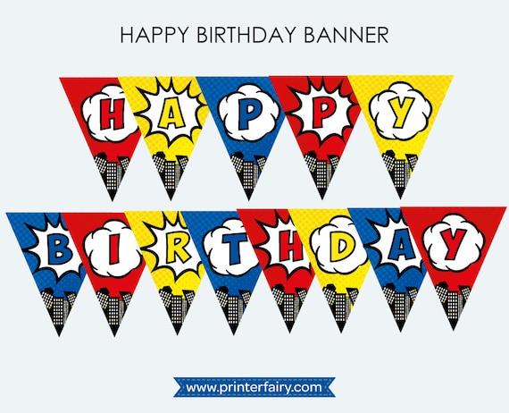 Party Princess and Superhero Birthday Banner Decoration Bunting