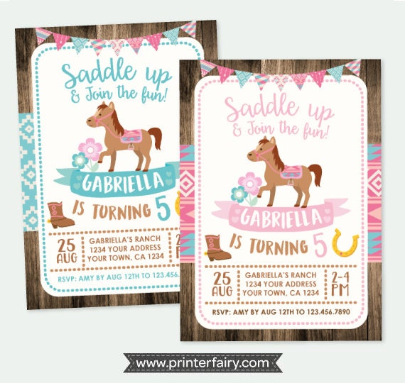 Horse Invitation Pony Birthday Cowgirl Party Personalized DIGITAL Invitations 2 Options