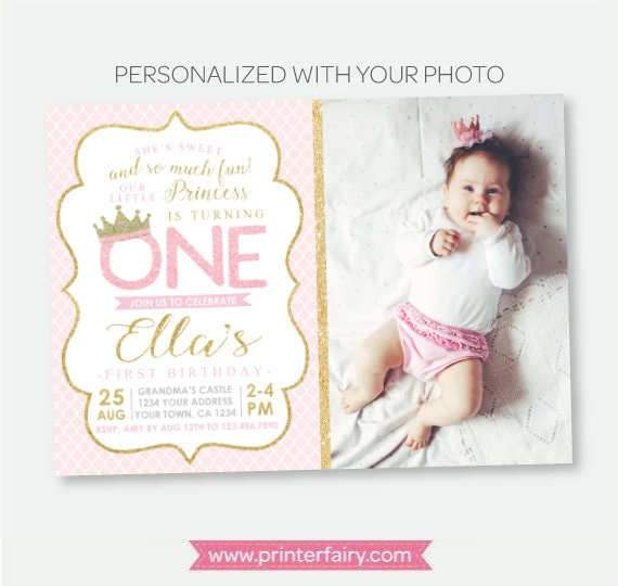 Princess 1st Birthday Invitation With Photo Royal Party Crown Pink Gold Personalized Digital
