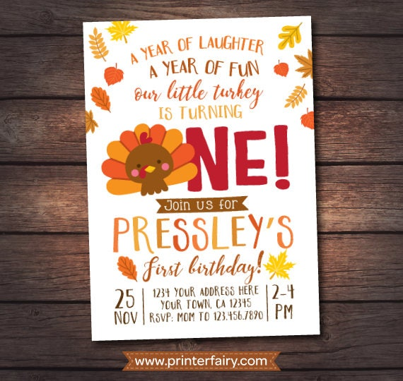 Thanksgiving First Birthday Invites DIGITAL Personalized Invitation 2 Options Gallery Photo