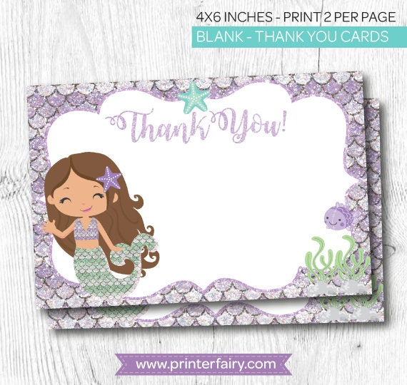Mermaid Thank You Card Tags Birthday Party Under The Sea Instant Download