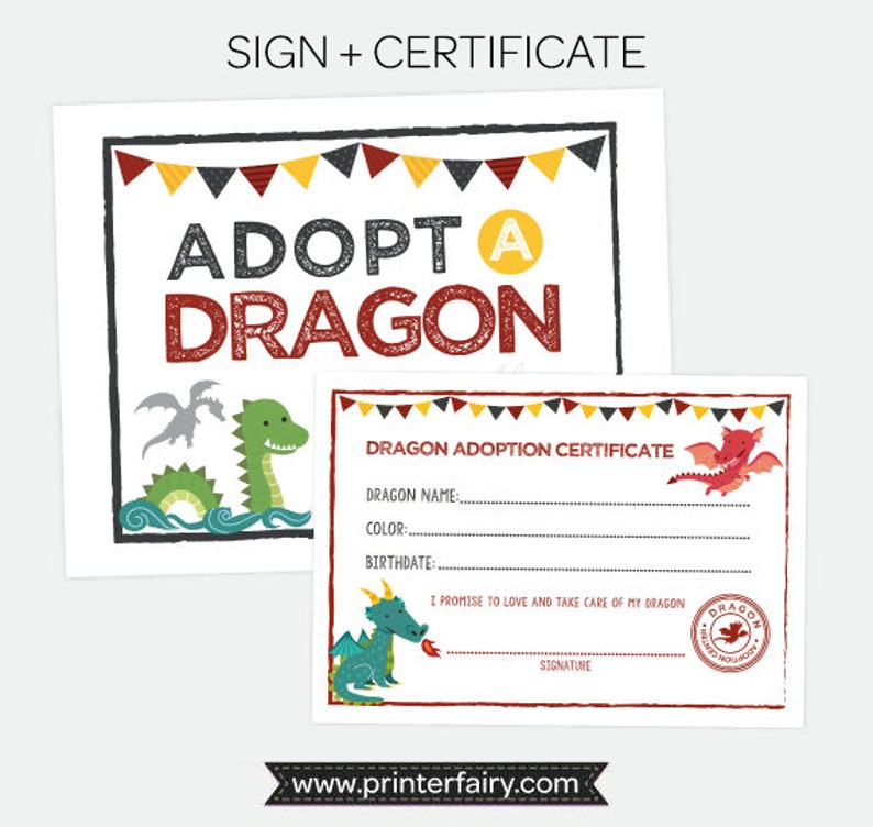 photo relating to Printable Adoption Certificate named Undertake a Dragon Printables, Puppy adoption Bash, Dragon Adoption Certification and Indicator, Dragon Birthday Occasion Decorations, Quick obtain
