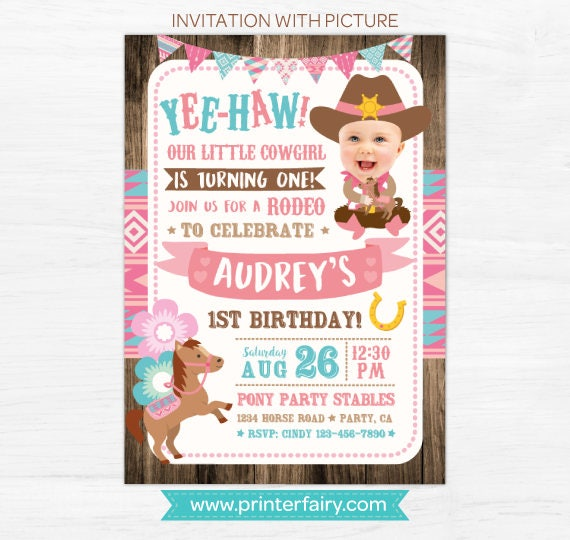 Cowgirl invitation with picture pony birthday invitation etsy image 0 filmwisefo