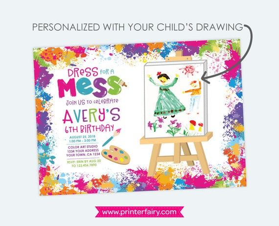 Painting Party Invitation With Your Child Drawing Art Birthday Paint Invites Picture Personalized Printable Invitations