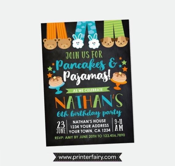 21a9ab67eb1b Pancakes and Pajamas Boy Birthday Invitation