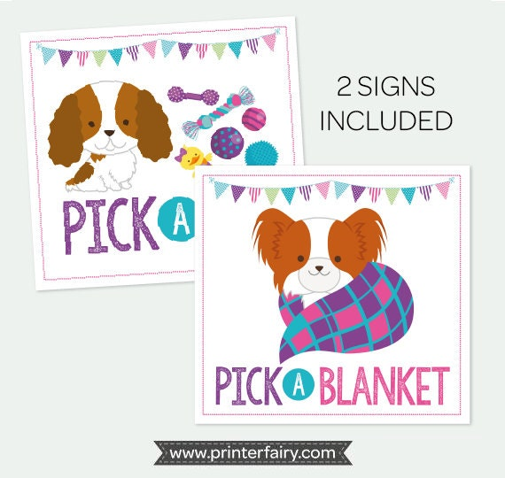 Pick A Blanket Toy Sign Pet Adoption Party Puppy Birthday Printable Instant