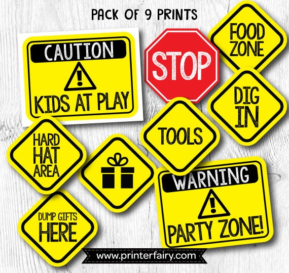 graphic about Free Printable Construction Signs identified as Composition birthday indications, Framework Birthday