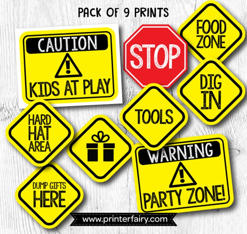 Construction birthday signs, Construction Birthday Printables, Construction  Prints, Set of 9 Prints, DIGITAL, Instant Download