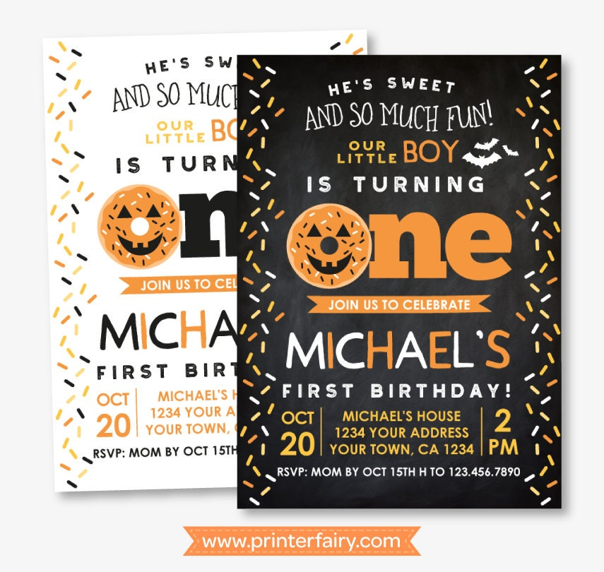 halloween donut 1st birthday invitation sprinkles birthday invitation 1st birthday invite personalized invitation 2 options