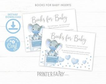 Elephant Baby Shower Books for Baby Inserts, EDITABLE, Baby Shower by Mail, Baby Boy Shower, Books for Baby Tickets, INSTANT DOWNLOAD