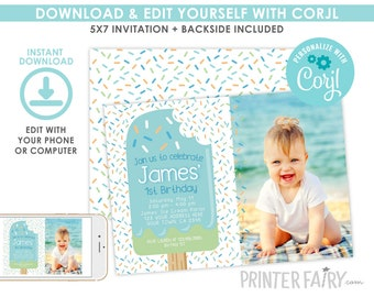 Popsicle Birthday Invitation with photo, EDITABLE, Ice Cream Invitation, Summer Party, Popsicle Invite, Digital, INSTANT DOWNLOAD