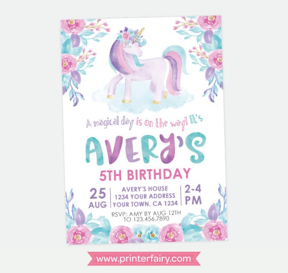 Unicorn Birthday Invitation Magical Party Floral