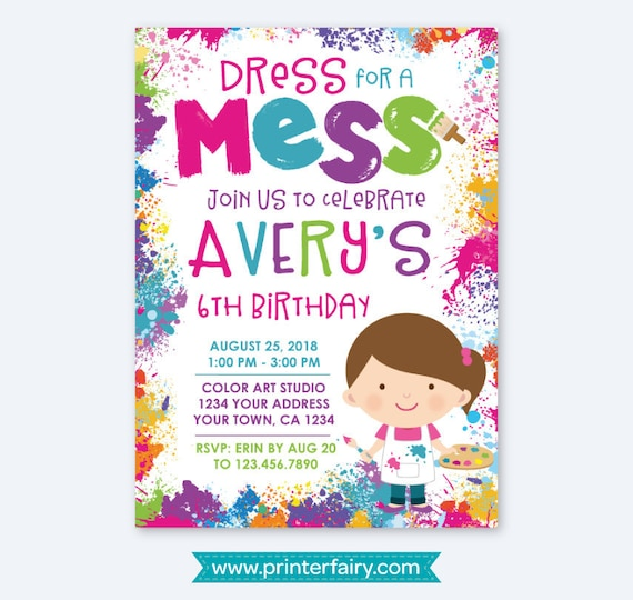 Painting Party Invitation Art Birthday Party Paint Party Invites