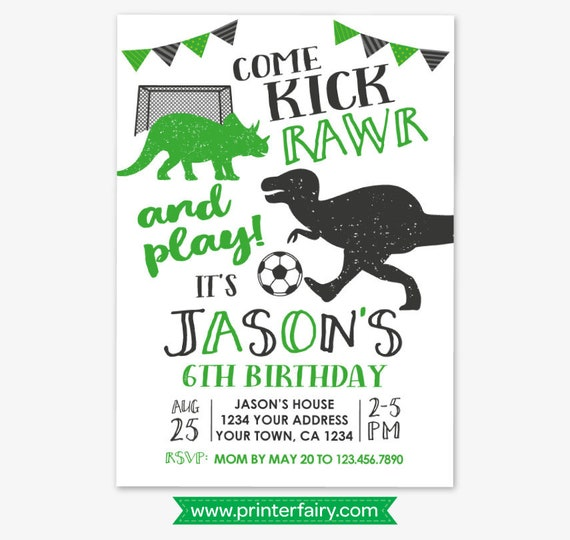 dinosaur and soccer birthday invitation soccer birthday sports