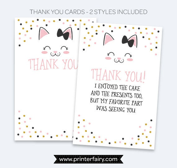 kitten thank you cards kitty cat birthday party kitty thank you