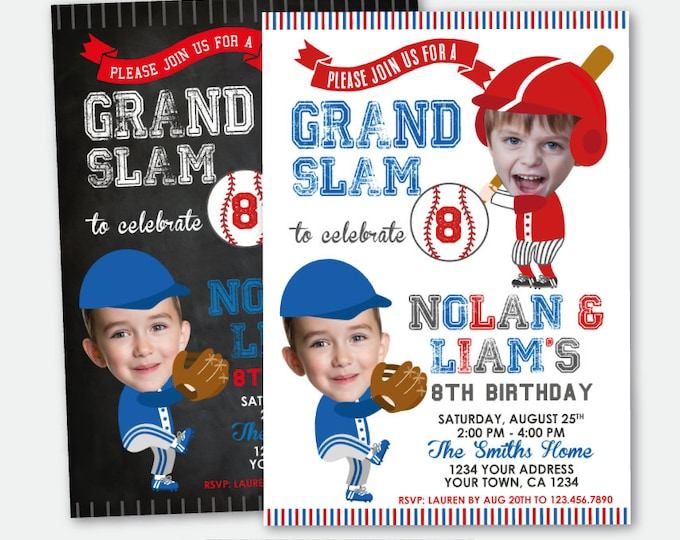 Baseball Sibling Invitation with Photo, ANY AGE, Baseball Joint Birthday Party, Sport Invitation, Personalized Printable Invite, 2 Options